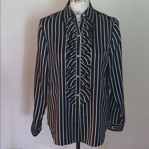 RALPH LAUREN black cream striped silk button down